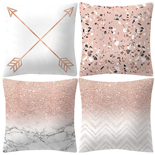 Wotryit Rose Gold Pink Cushion Cover Square Pillowcase Home Decoratio Pack of 4,Decorative Square Throw Pillow Covers Set Cushion Case for Sofa Bedroom Car 18 x 18 Inch 45 x 45 cm (Cushions White Pink And)