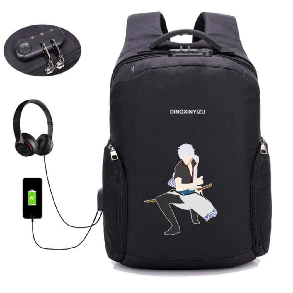 A14 GuiSoHn AntiTheft USB Charging Backpack Japan Anime Gintama Daypack Student School Bag Teenagers Laptop Travel Rucksack