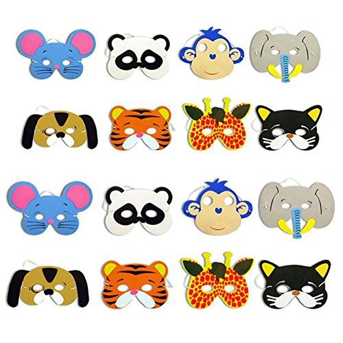 KiwiBrand Animal Mask 10pcs Mask Birthday Party Supplies EVA Foam Animal Masks Cartoon Kids Party Dress Up Costume Zoo Jungle Mask Party (Eva Foam Costume Making)