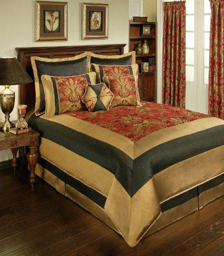 Sherry Kline 8-Piece Milano Comforter Set, King, Red