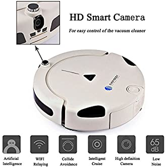 EVERYBODY X1 Household Robotic Vacuum Cleaner with Mobile App and Camera Remote Control and Wi-Fi Enabled and Self Charge - Grayish White