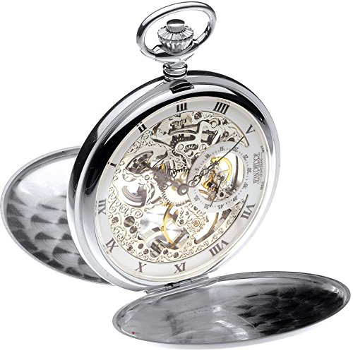 Full Hunter Pocket Watch Sterling Silver Skeleton 17 Jewel Mechanical Movement ()