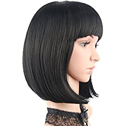 "eNilecor Short Bob Hair Wigs 12"" Straight with Flat Bangs Synthetic Colorful Cosplay Daily Party Wig for Women Natural As Real Hair+ Free Wig Cap (Black)"