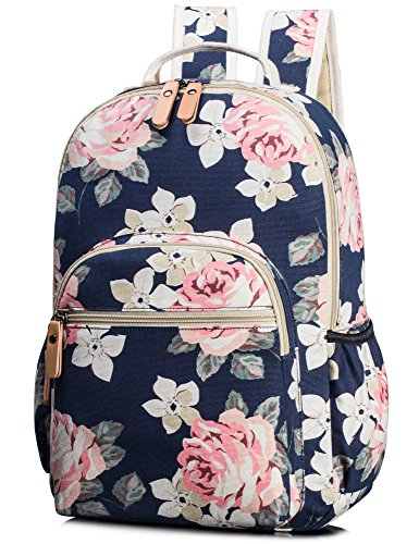 TOPERIN Fashion Laptop Backpack College Bags Light Daypack Floral Dark Blue