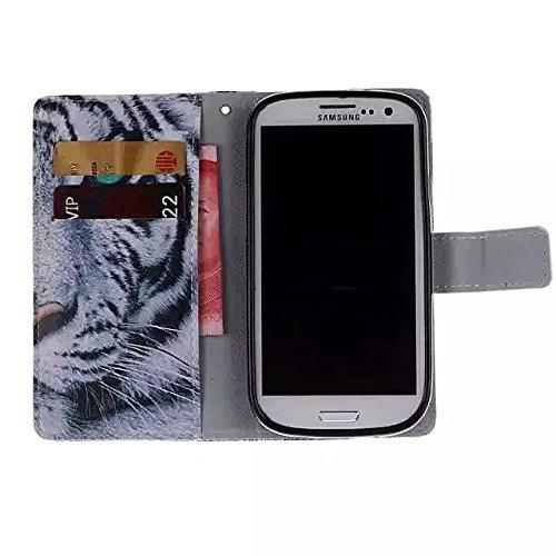 Vandot 2en1 Accesorios Set cubierta tirón del cuero caja del teléfono para Huawei P8 Lite 1x 3D del brillo de Bling Rhinestone bolso de concha de perla diamante Corazon te amo Case - Flor Rose libro s Tigre