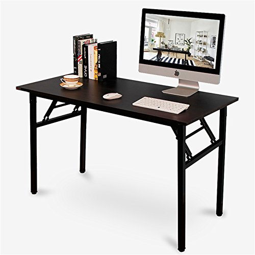 DlandHome 47'' Medium Home Office Computer Desk, No Install Needed, Composite Wood Board, Folding Table/Workstation, ND5-120BB Black & Black Legs, 1 Pack by DlandHome