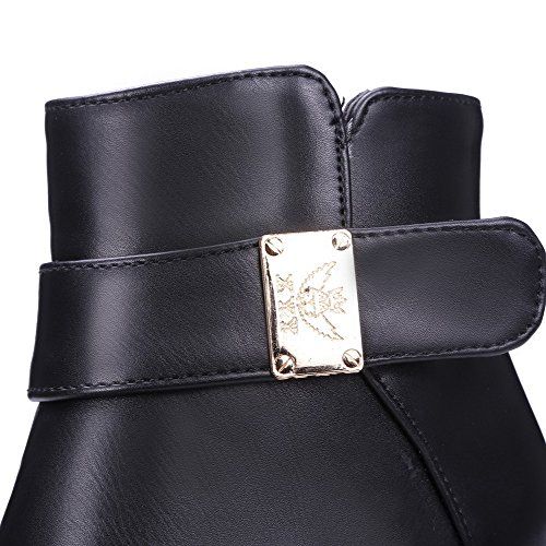 AllhqFashion Womens PU Low-top Solid Zipper High-Heels Boots Black Suw6qMI