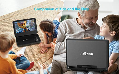 "ieGeek Portable DVD Player 12.5"", with 10.1"" HD Swivel Screen, Car Travel DVD Players 5 Hrs Rechargeable Battery, Region-Free Video Player for Kids Elderly, Remote Control, Sync TV, USB&SD, Black"