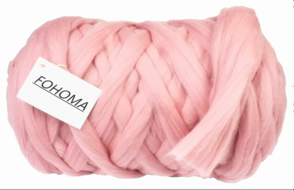 Giant Wool Yarn Chunky Arm Knitting Super Soft Wool Yarn Bulky Wool Roving (2 kg/4.4 lbs, Pink)