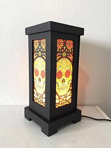 Thai Vintage Handmade Asian Oriental Fantasy Skull Bedside Table Light or Floor Wood Paper Lamp Shades Home Bedroom Garden Decor Modern Design from Thailand by Thai decorated by Thai Decorated