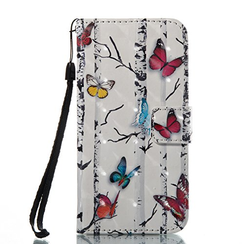 Price comparison product image Urberry Iphone 8 Wallet Case,  3D PU Leather Bright Color Case for Iphone 8 with a Free Screen Protector (White)