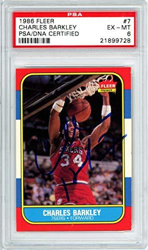 - Charles Barkley Autographed 1986 Fleer Rookie Card #7 Philadelphia 76ers PSA/DNA #21899728