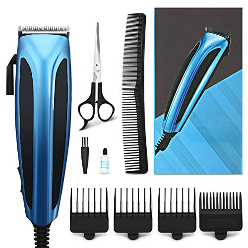 Hair Clippers for Men, Hizek Beard Trimmer Corded Hair Trimmer Barber Clippers, Professional Haircut Kit with Clipper Guide Combs Scissors and Blade Lubricating Oil for Family Use
