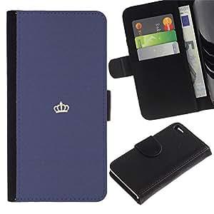 All Phone Most Case / Oferta Especial Cáscara Funda de cuero Monedero Cubierta de proteccion Caso / Wallet Case for Apple Iphone 4 / 4S // corona del rey minimalista blanco púrpura
