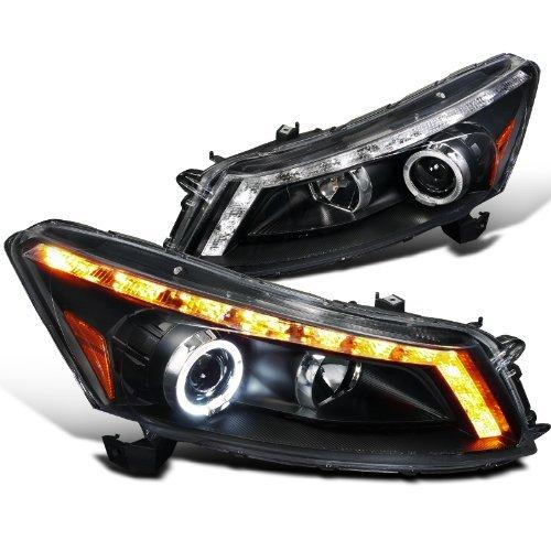 (Spec-D Tuning 2LHP-ACD084JM-TM Honda Accord 4Door Diamond Black Halo LED DRL Turn Signal Projector Headlights)