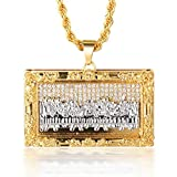 Halukakah DA VINCI Men's 18k Real Gold Platinum Plated Da Vinci Last Supper Pendant Artificial Diamond Set Necklace with FREE Rope Chain 30'