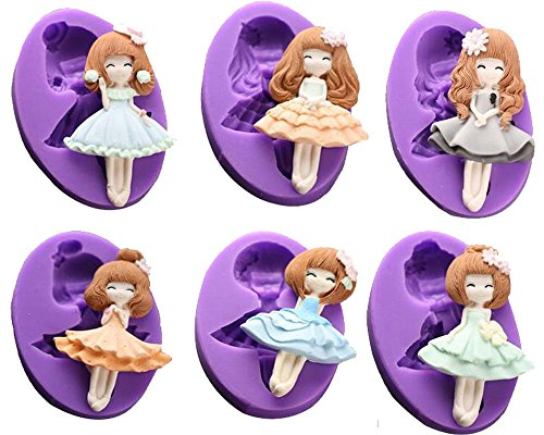 (Set of 6)Beautiful Barbie Doll Cake Fondant Mold Chocolate Silicone Mold for Sugarcraft Cake Decoration Candy Mold Cupcake Topper Polymer Clay Crafting (Doll Mold)