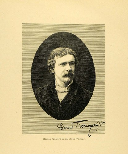 1887 Wood Engraving Portrait Hamo Thornycroft New Sculpture Movement Profile Art - Original Engraving (New Sculpture Movement)
