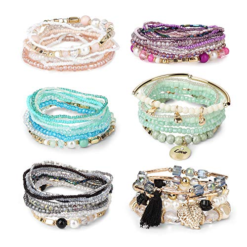 FIBO STEEL 6 Sets Bohemian Stackable Bead