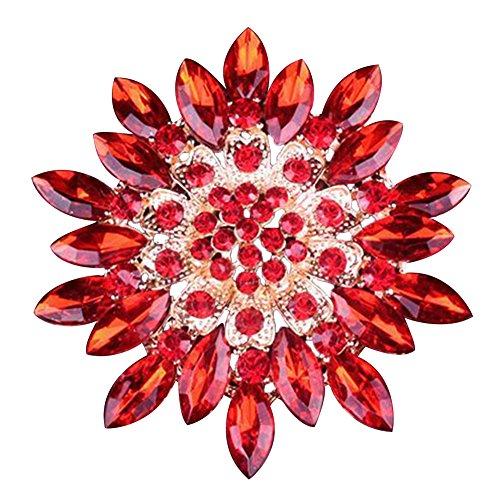SANWOOD Women Fashion Rhinestone Flower Wedding Bridal Bouquet Brooch broaches Pin breastpin (Red) ()