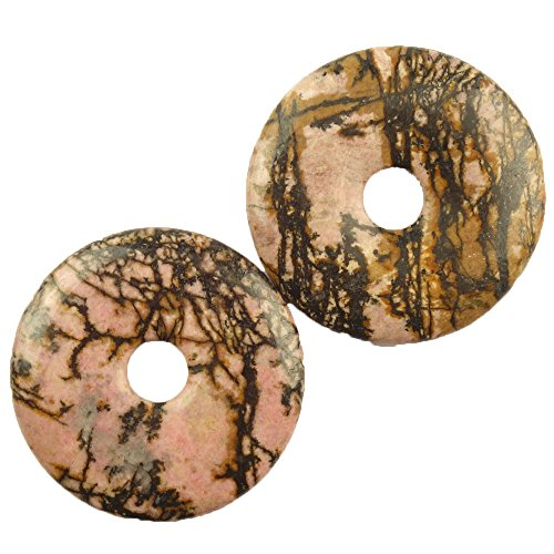 - yuteng jewelry Teng Yu (2 pieces/lot) Rhodonite Donut Pendant Bead 40x5mm