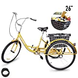HIRAM Adult Tricycle, 24'/26' Wheels Trike with Low Step-Through Steel Frame, Front and Rear Fenders, Single Speed, Large Cruiser Seat, Rear Basket and Bicycle Bell
