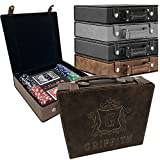 Personalized Poker Set Case - Custom Gifts for Poker Players - Free Engraving (Rustic Brown with Gold)