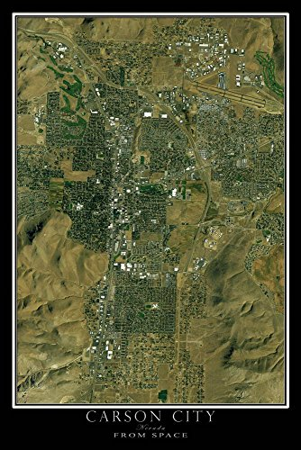Carson City Nevada Map (Carson City Nevada Satellite Poster Map S 12 x 18 inch)