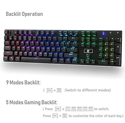 a367f6217ef Amazon.com: Granvela MechanicalEagle Z-88 104 Keys Mechanical Gaming  Keyboard with 9-Mode RGB Backlit and Blue Switches,DIY-Replaceable Switches  - Black: ...
