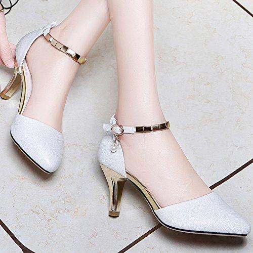 Vivioo Hoge Hakken Sandalen Hoge Hak Sandalen Baotou Met De Zomer Hoge Hakken Op Met Een Woord Gesp Wees Vrouwelijke Schoenen Wit