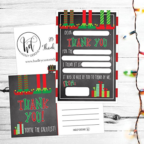 25 Christmas Holiday Kids Thank You Cards, Elf Fill In the Blank Thank You Notes, Personalized Card For Birthday Party or Christmas Gifts, Stationery For Children Boys and Girls Photo #3