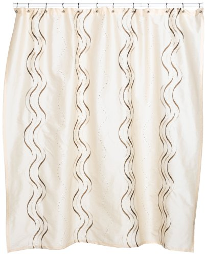 Croscill Dante Embroidered Shower Curtain, Champagne (Neutral Shower Curtains Color)