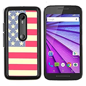 Eason Shop / Premium SLIM PC / Aliminium Casa Carcasa Funda Case Bandera Cover - Bandera Stars Stripes Rojo Azul Blanco - For Motorola MOTO G3 ( 3nd Generation )