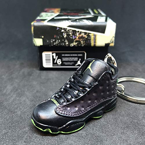 Air Jordan XIII 13 Retro Altitude Black Green OG Sneakers Shoes 3D Keychain 1:6 Figure + Shoe Box