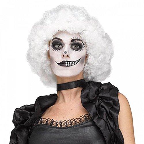Fun World Side Show Beauty White Afro Curly Wig - Freak Show Sideshow Clown]()