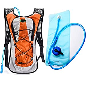 Hydration Backpack--Juboury Water Rucksack Bladder Bag for Running Hiking Cycling and Any Other Outdoor Sports with Free 2L TPU Hydration Bladder (Orange)