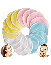 16 Packs Washable Reusable Bamboo Makeup Remover Pads - Facial Rounds Cotton Pads for face with Laundry Bag (Bamboo Velour, Pink/Blue/Yellow)
