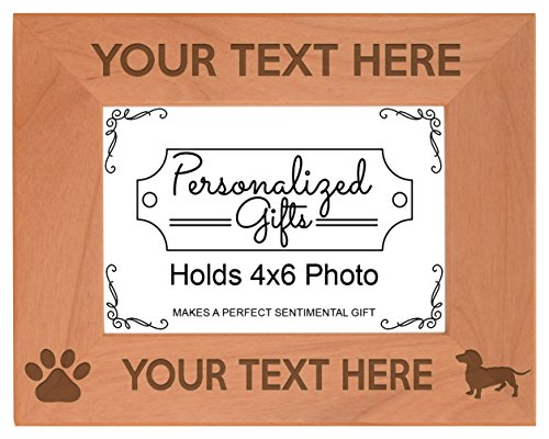 Personalized Dog Picture Frame Dachshund Your Text Weiner Dog Weenie Dog Personalized Dog Frame Natural Wood Engraved 4x6 Landscape Picture Frame Wood