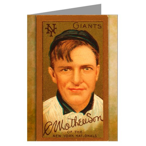 6 Greeting Cards of Christy Mathewson, New York Giants Pitcher with signature Baseball Card