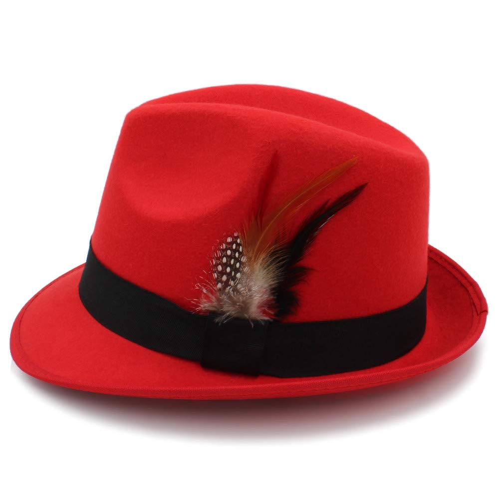 Color : Black, Size : 56-58cm MXL Mens Jazz Fedoras Vintage Wide Brim Fedora Hat Floppy Cloche Hat Chapeu Casual Solid Pink Red Bones