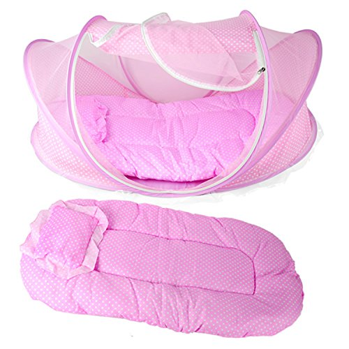 eshion Baby Travel Bed,Baby Bed Portable Folding Baby Crib Mosquito Net Portable Baby Cots Newborn Foldable Crib (PINK) Review
