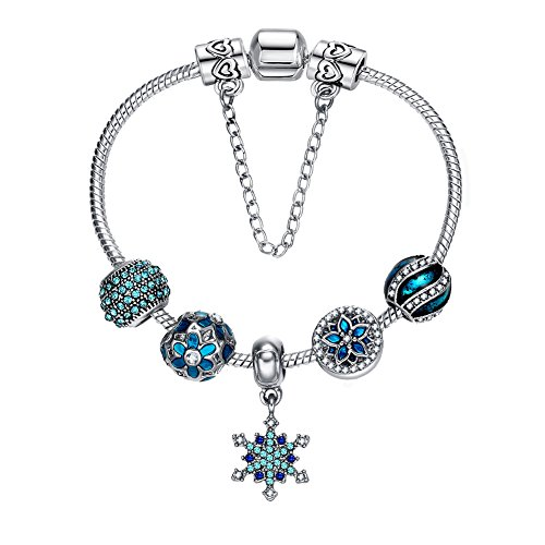 Presentski 925 Silver Plated Romantic Blue Snowflake Fashion Charm Bracelet with CZ, Night Stars Flowers, Christmas Gift for Women, 7.9 Inches (20 cm) Snake (Plated Snowflake Charm)