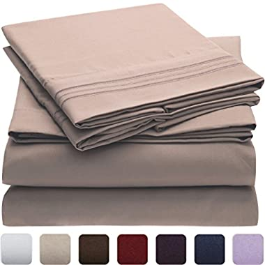 Mellanni Bed Sheet Set - HIGHEST QUALITY Brushed Microfiber 1800 Bedding - Wrinkle, Fade, Stain Resistant - Hypoallergenic - 4 Piece (King, Tan)