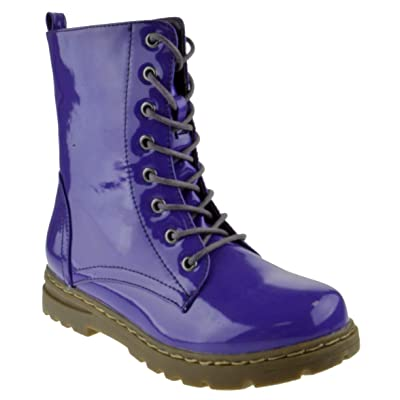 Gwen 01 HI Womens Patent Milatary Lace Up Combat Boots | Snow Boots