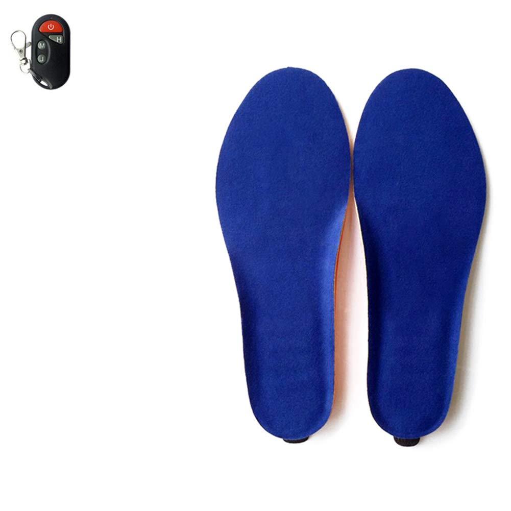 ALXDR Plantillas térmicas Carga USB Inalámbricas Control Remoto Plantillas Terciopelo Temperatura de la Superficie Ajustable Corte a Medida Múltiples tamaños Calzado de Invierno Plantillas,Blue,M