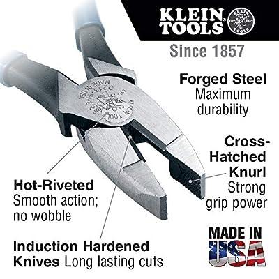 Klein Tools HD2000-9NE Side Cutter Linemans Pliers Cut ACSR, Screws, Nails, Hard Wire, 9-Inch Electrical Pliers