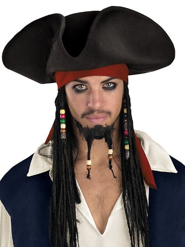 [Jack Sparrow Original Deluxe Hat with Beaded Braids Costume Accessory] (Hat Costumes Accessory)