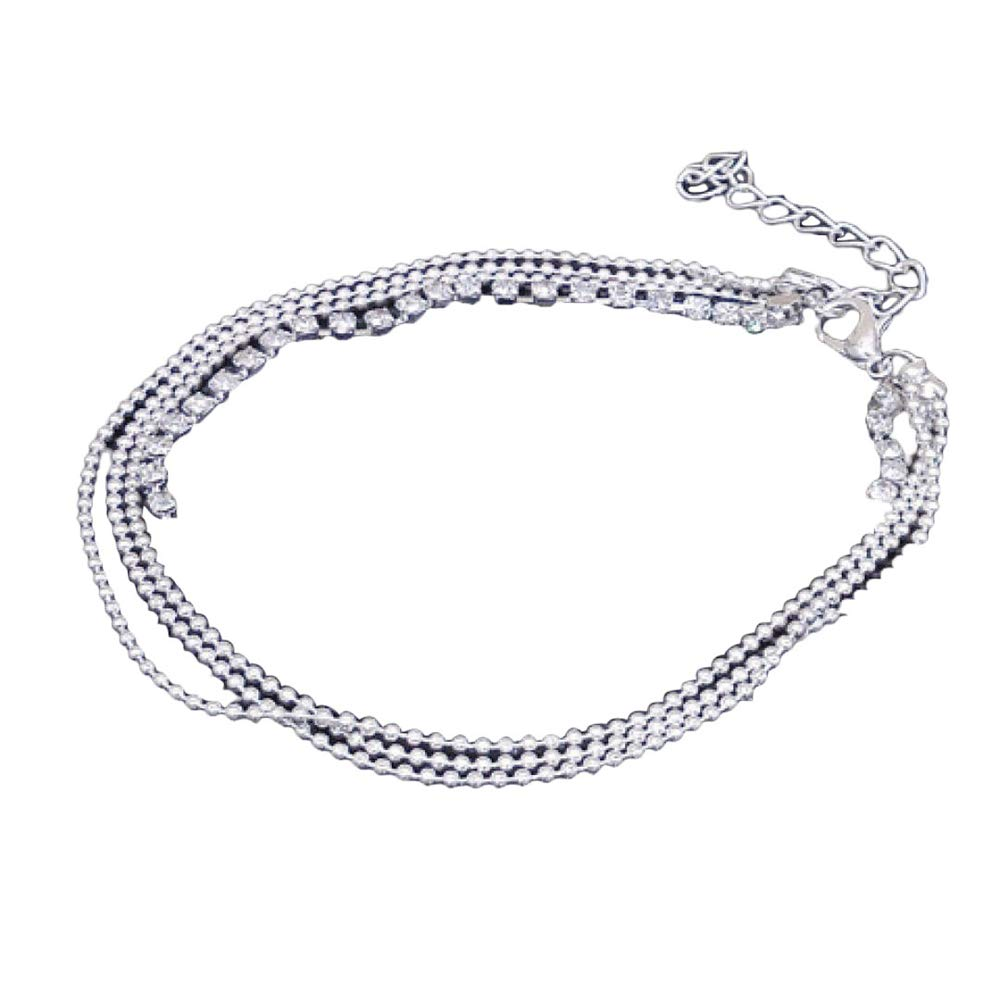 WoCoo Foot Jewelry Multi Layer Silver Crystal Ball Bracelet Anklets Foot Chain Summer Jewelry(Sliver)