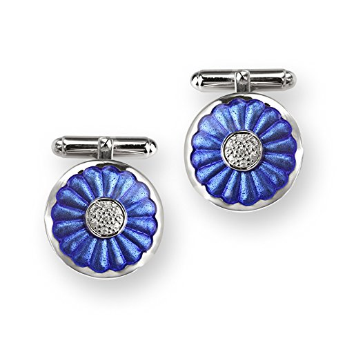 Nicole Barr Sterling Silver White Sapphires And Blue Enamel T-Bar Cufflinks - Sapphire White Cufflinks