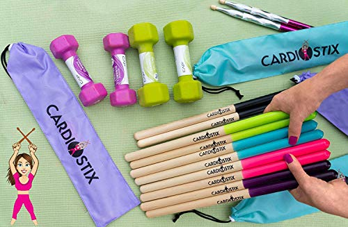 CardioStix Bundle 8oz Highest-Weighted Timbale Premium American Hickory Wood Cardio Drum Sticks | For Drumming, Fitness, Aerobic Class, Exercises & Workouts | Non-Slip, Quality (Pink with Bag)